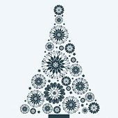 snowflake flower christmas tree - all separate elements