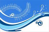 Welle mit Splash und Blatt-Design (separat verwenden)