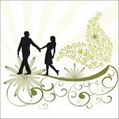 romantic couple with funky leaves and vine