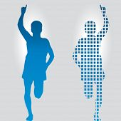 runners -  one solid  - one mosaic