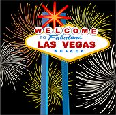 las vegas sign with fireworks