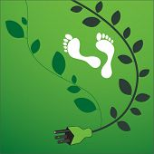 environmental footprint with powercord and leaves