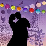 young couple in love - lanterns eiffel tower grunge writing