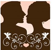 Couple silhouette with cupid and filigree  - release clipping mask to revel full heads