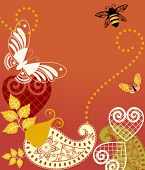Beautiful pattern elements - butterfly , bee, paisley, hearts and leaves