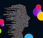 Perfil hombre tecnológico (hecho de círculos