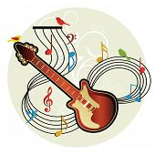 guitar musical notes birds foliage