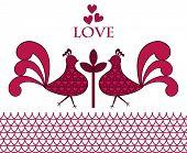 folk-art love birds
