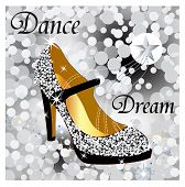 image of high heels shoes  - sparkle glitter shoe - JPG