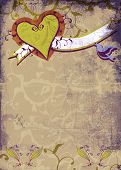 image of hand heart  - Grunge brown page with hand - JPG