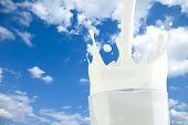 Splashing milk in a glass with sky background