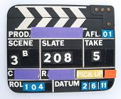 clapboard used during film shoot