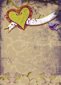 foto of hand heart  - Grunge brown page with hand - JPG