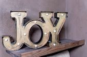 Trendy Decorative Wooden Inscription Joy. Lovely Word. Jnjoy Concept. Fashion Nightlight, Night Lamp poster