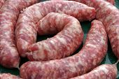 close up shot of raw Sausages