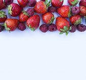 Various Fresh Summer Berries. Ripe Strawberries And Raspberries On White Background. Top View. Berri poster