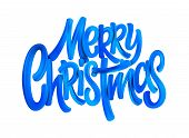 Merry Christmas Acrylic Paint Brush Lettering. Oil Paint Calligaraphic Decoration. Christmas Blue Ac poster