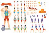 Young Strong Man Athlete, Weightlifter Or Bodybuilder In Sportswear Illustration. Character Creation poster