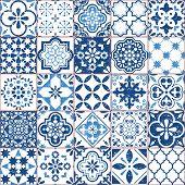 Vector Azulejo Tile Pattern, Portuguese Or Spanish Retro Old Tiles Mosaic, Mediterranean Seamless Na poster