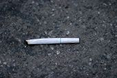 a partial smoked cigarette lays on the ground