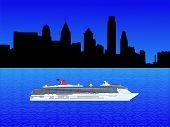 stock photo of cruise ship  - Cruise ship on Delware river and Philadelphia skyline illustration - JPG