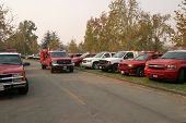 10-25-2007 Santiago Canyon wild fires staging area with fire trucks, police, and everyone involved s