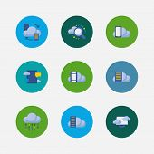 Cloud Service Icons Set. Search And Cloud Service Icons With Data Storage, Cloud Code And Cloud Appl poster