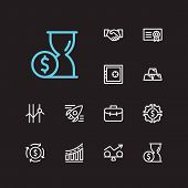 Investment Icons Set. Time Money And Investment Icons With Gold, Cooperation And Funds Protection. S poster