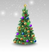 Beautiful Christmas Tree With Colorful Balls. Decoration, Bauble, Evergreen Conifer. New Year Concep poster