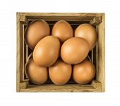 Eggs Isolated On White Background. Eggs In Wooden Box Isolated. Close-up Of An Eggs On White Backgro poster