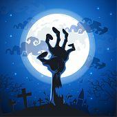 Halloween Background With Zombie Hands On Full Moon. poster