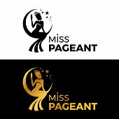 Miss Lady Pageant Logo Sign With Gold And Black Woman Wear Crown Sit On The Moonn And Star Vector De poster