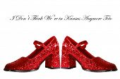 stock photo of oz  - Ruby Red Slippers with red glitter isolated on white with room for your text - JPG