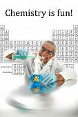 Humor, Chemistry, Science, Medical, Global Warming - a chemist or scientist  works on a cure to end GLOBAL WARMING and save mankind from CO2 poisoning,  isolated on white with room for your text. .