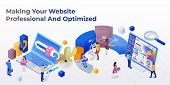 Web Page Design Template For Web Studio In The Modern 3d Isometric Style. Purchase Of A Domain Name. poster