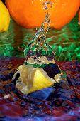image of crown green bowls  - Drop of juice fresh mandarin - JPG