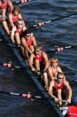 PRAGUE, - June 6: Junior rowing team rowing ahead during a boat-race in Prague, Czech Republic, on June 6, 2008