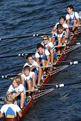 PRAGUE - JUNE 6: A junior rowing team in action during a boat-race in Prague, Czech Republic, on Jun
