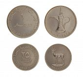 Set of United Arab Emirates Dirham coins isolated on white