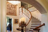 foto of bannister  - A classic staircase in a luxury home - JPG