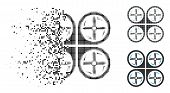 Quadrotor Screws Rotation Icon In Dispersed, Dotted Halftone And Solid Versions. Elements Are Organi poster