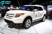 CHICAGO - FEBRUARY 15: The  Ford Explorer concept car presentation at the Annual Chicago Auto Show o