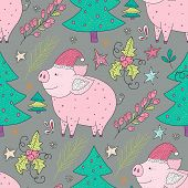 Doodle Christmas Pig. Christmas Vector Seamless Pattern With Detailed Holiday Illustrations.cute Ill poster