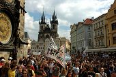 Demonstrating students on the Old town square in Prague