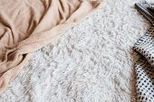 Soft Furry Fabric Background. Cozy Fleece Blanket. Crumpled Bed Cover. Bedroom Sleep And Comfort Con poster