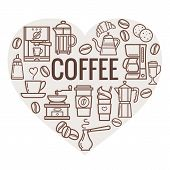 Coffee Heart Shape. Vector Coffee Elements And Coffee Accessories. Coffee Icons. poster