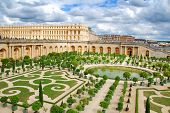 Famous palace Versailles near Paris, France with beautiful gardens