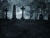 A grainy and gritty illustration of a graveyard.