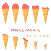 Vector Illustration For Natural Pomegranate Ice Cream On Waffle Cone. Ice Cream Pattern Consisting O poster