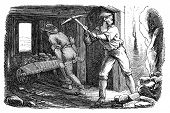 Men working in a silver mine. Illustration originally published in Ernst von Hesse-Wartegg's